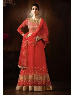 Party Wear Red Net Anarkali Suit  - 16150