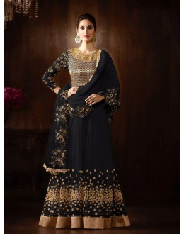 Party Wear Dark Grey Net Anarkali Suit  - 16151