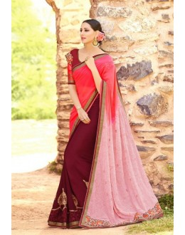 Casual Wear Multi-Colour Georgette Saree  - 16180