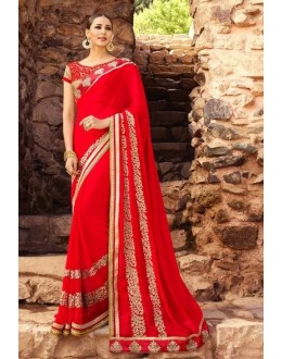 Casual Wear Red Georgette Saree  - 16182