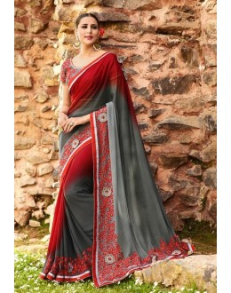 Party Wear Red & Grey Georgette Saree  - 16186