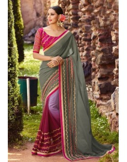 Casual Wear Multi-Colour Georgette Saree  - 16190