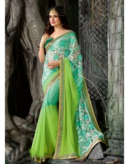 Party Wear Green Faux Chiffon Saree  - 16200