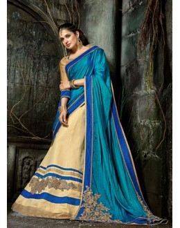Georgette Blue & Beige Designer Saree  - 16201