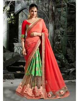 Ethnic Wear Peach & Green Saree  - 16202
