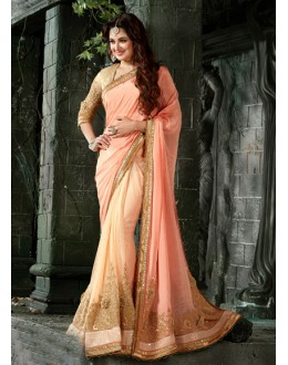 Festival Wear Peach Chiffon Saree  - 16203