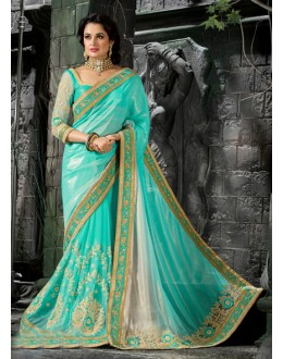 Wedding Wear Blue Pure Crepe Saree  - 16206