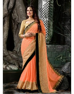 Peach Colour Faux Georgette Attractive Saree  - 16207