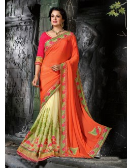 Orange & Off White Half & Half Saree  - 16210