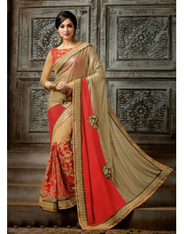 Party Wear Beige Chiffon Saree  - 16214