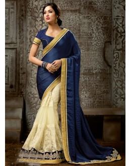 Ethnic Wear Blue & Off White Chiffon Saree  - 16215