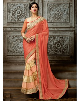 Orange & Peach Chiffon Half & Half Saree  - 16217