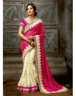 Festival Wear Pink & White Chiffon Saree  - 16219