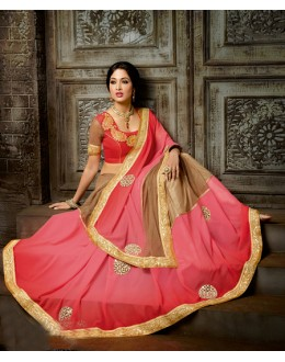 Party Wear Pink & Brown Chiffon Saree  - 16220