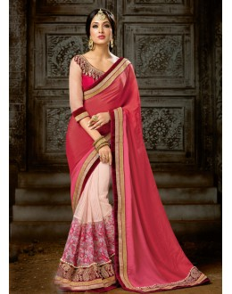 Pink & Peach Chiffon Attractive Saree  - 16221