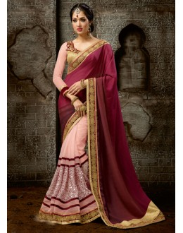 Multi-Colour Chiffon Attractive Saree  - 16224