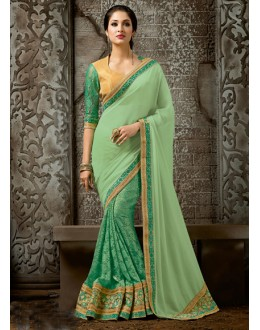 Green Colour Chiffon Designer Saree  - 16226