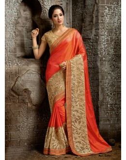 Party Wear Orange Chiffon Saree  - 16227