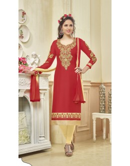 Festival Wear Red Glace Cotton Salwar Suit - 16239