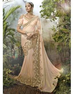 Ethnic Wear Peach Lycra Net Saree  - 16241