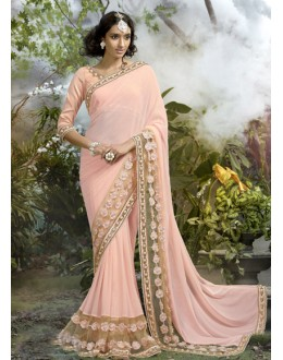 Festival Wear Pink Lycra Net Saree  - 16245