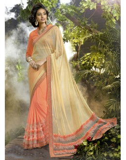 Ethnic Wear Beige & Peach Ethnic Lycra Net Saree  - 16247