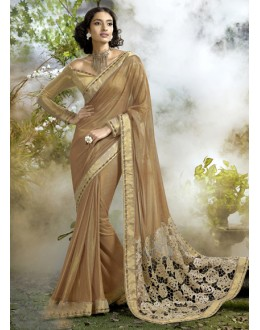 Ethnic Wear Golden Lycra Net Saree  - 16248