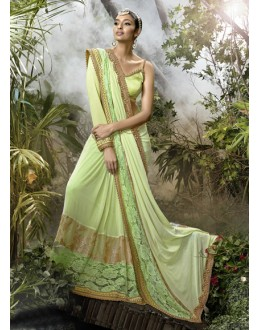 Party Wear Green Lycra Net Saree  - 16249