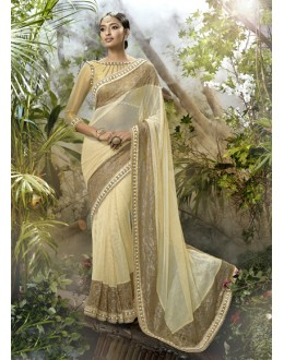 Beige Colour Lycra Net Ethnic Saree  - 16252