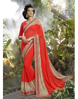 Ethnic Wear Red Lycra Net Saree  - 16254