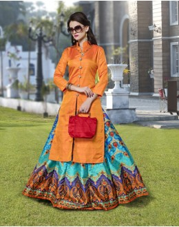 Ethnic Wear Readymade Orange Kurti With Skirt - 16255