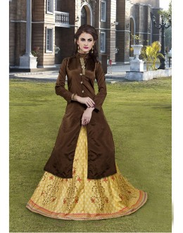 Readymade Brown & Cream Kurti With Skirt - 16257