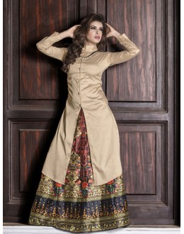 Readymade Cream & Multi-Colour Kurti With Skirt - 16258