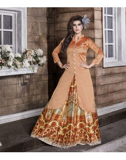 Party Wear Readymade Peach Kurti With Skirt - 16261
