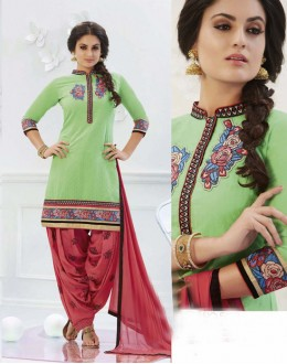 Ethnic Wear Green Cotton Patiyala Suit - 16318