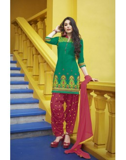 Office Wear Green Pure Cotton Patiyala Suit - 16322
