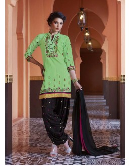 Ethnic Wear Green Pure Cotton Patiyala Suit - 16324