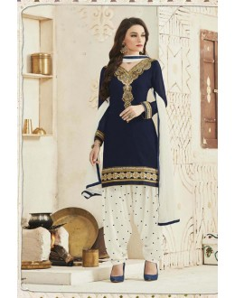 Party Wear Blue Pure Cotton Patiyala Suit - 16327