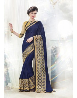 Ethnic Wear Blue Moss Chiffon Saree  - 16335