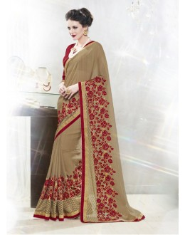 Ethnic Wear Coffee Sai Chiffon Saree  - 16337