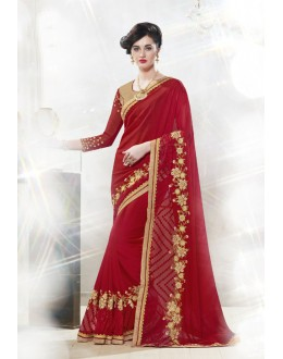 Red Colour Moss Chiffon Attractive Saree  - 16341