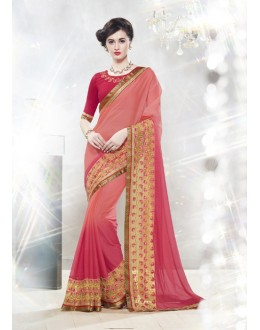 Pink Colour 60 Gram Georgette Designer Saree  - 16342