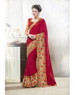 Maroon Colour Moss Chiffon Ethnic Saree  - 16345