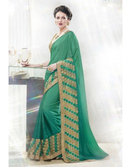 Ethnic Wear Green Georgette Saree  - 16346