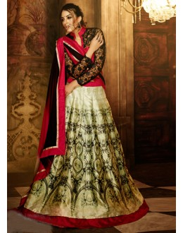 Ethnic Wear Green Bhagalpuri Silk Lehenga Choli - 16363