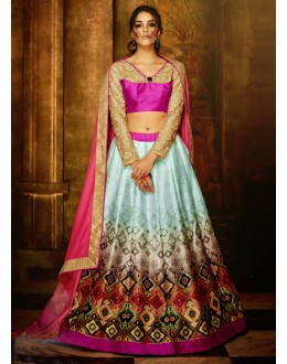 Bhagalpuri Silk Multi-Colour Lehenga Choli - 16364