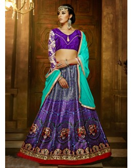 Traditional Purple Bhagalpuri Silk Lehenga Choli - 16365