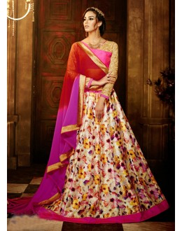 Multi-Colour Bhagalpuri Silk Lehenga Choli - 16366