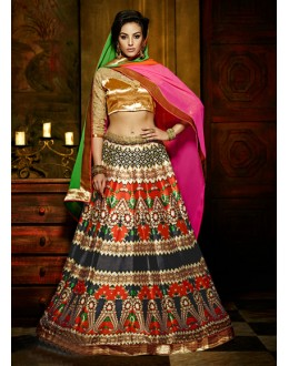 Festival Wear Multi-Colour Bhagalpuri Silk Lehenga Choli - 16367