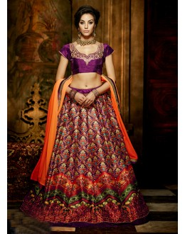 Festival Wear Multi-Colour Bhagalpuri Silk Lehenga Choli - 16368